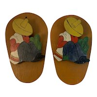 Pair of Folk Art Wall Clips Hand Made and Painted South of the Border Mexican Man Cactus Sombrero