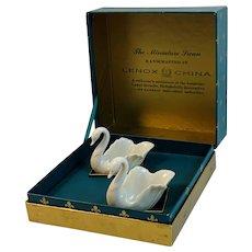 Pair Lenox Miniature Swan Saltcellar Handcrafted China Salt Cellar in Original Box