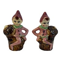 VIntage Pixie on Tree Stump Salt and Pepper Shakers Elf Elves
