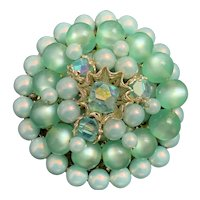 Blue Green Faux Pearl and Rhinestone Pin Brooch Midcentury Japan