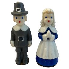 2 Gurley Thanksgiving Pilgrim Holiday Candles Blue Grey Vintage Holiday