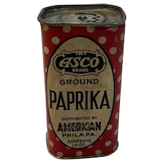 ASCO Paper Label Paprika Tin American Stores Co Early Vintage Spice Spices