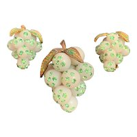 Grape Brooch with Green Rhinestones and Matching Earrings