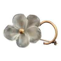 Frosted Glass Daisy Flower Brooch or Pendent with Copper Setting