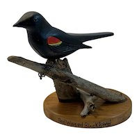 Hand Painted Carved Wood Red Winged Blackbird Black Bird Folk Art