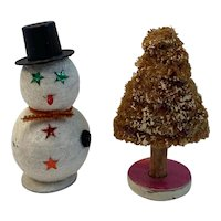 Miniature Snowman and Sponge Christmas Tree Japan Mica Flocked Paper Mache