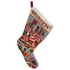 Needlepoint Cross Stitch Christmas Stocking Blitzen Reindeer Name on Top Large
