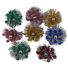 8 Atomic Age Tinsel Spray Stars Christmas Ornaments or Package Decorations