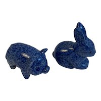 Miniature Spongeware Pig and Bunny Rabbit Sponge Ware Decorated Blue and White