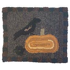 Small Hand Hooked Rug Crow and Pumpkin Autumn Fall Thanksgiving Decor Mat