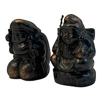 Pair of Cast Metal Lucky Gods Occupied Japan Number 1 and 2 Occupied Japan