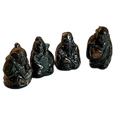 Four Cast Metal Lucky Gods Japan Number 3, 4, 6 and 7