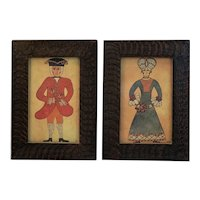 Pair Colonial Man and Woman Framed Prints