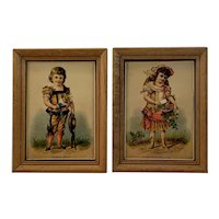 Pair of Framed Trade Cards Great China and Japan Harrisburg Pennsylvania Victorian Advertising