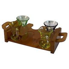 Caramel Bakelite Liquor Glass Carrier with 4 Liquor Glasses Cups Bar Set