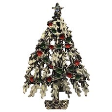 Christmas Tree Pin Enamel Decorated Rhinestone Star