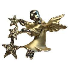 Gigi Guisti Angel with Three Stars Gold Tone Rhinestones Pin for Christmas