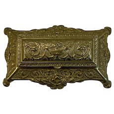 Ornate Victorian Cast Brass Footed Stamp Box with 3 Compartments Hinged Lid