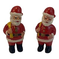2 Hard Plastic Santa Claus Figurines Vintage Stocking Stuffers
