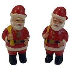 2 Hard Plastic Santa Claus Figurines Vintage Stocking Stuffers