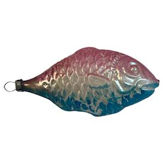1930s German Glass Fish Ornament for Christmas Pink Blue Silver