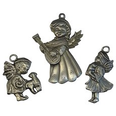 3 Pewter Angel Christmas Ornaments Hampshire 1994
