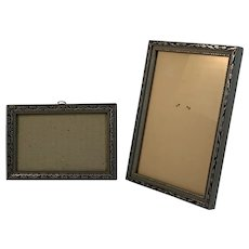 Art Deco Silver and Black Decorated Wood Frames
