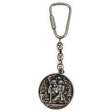 Sterling Silver San Cristobal Religious Medal Keychain Key Chain Protegenos 925 Repousse Saint Christopher Protect Us
