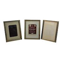 Three Metalcraft Goldtone Mid Century Free Standing Frames