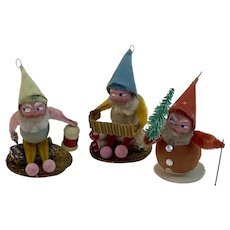 3 Christmas Gnomes Lantern Tree Mushrooms Chenille Spun Cotton Mica Vintage Ornaments