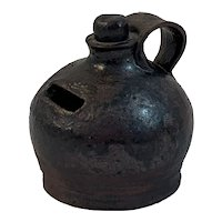 Miniature Pottery Jug Bank with Handle Signed and Dated Folk Art