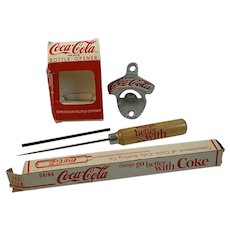 Coca Cola Drink Coke Bottle Opener and Ice Pick in Original Boxes