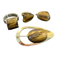 Tiger Eye Set with Ring, Earrings and Pin