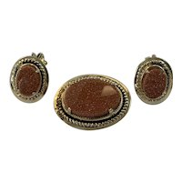 Goldstone Pin and Earring Set