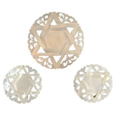 Carved Mother of Pearl Pin and Earring Set MOP Star of David