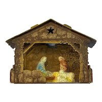 Miniature Chalkware Nativity Scene Light Up Cardboard Creche Stable Vintage Christmas