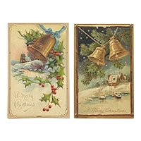 2 German Embossed Christmas Bells Postcards