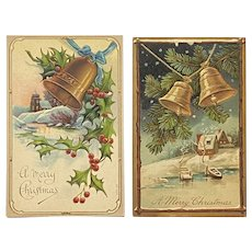 2 German Embossed Christmas Bells Postcards