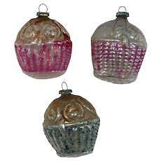 3 Antique Glass Flower Basket Christmas Ornaments Feather Tree Size