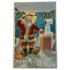 Antique Embossed Santa Claus Postcard Christmas Up on the Rooftop Kris Kringle Series