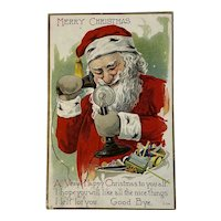 1919 Santa on the Telephone Postcard Embossed C-234 Merry Christmas