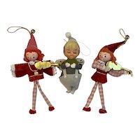 3 Mid Century Elf Christmas Ornaments MCM Vintage Violin Musicians Mid-Century and Angel