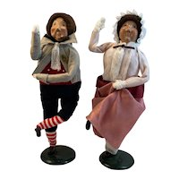 Byers Choice Mr and Mrs Fezziwig from Dickens Christmas Carol Second Edition 1986 1989 Vintage