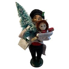 1997 Byers Choice Man with Presents Cat Doll Bottle Brush Tree from the Carolers Limited Edition 73 of 100 Raggedy Ann