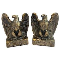Vintage American Eagle Bookends Cast Metal Ornate Americana Decor Book Ends