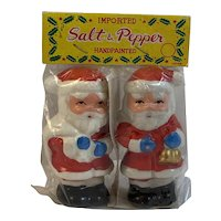 Vintage Santa Claus Salt and Pepper Shaker Set In Original Package NOS Never Opened Japan Christmas