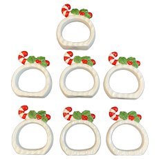 Vintage Christmas Napkin Rings Candy Cane and Holly Set of 7