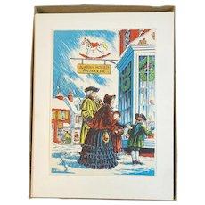 Set of 25 Unused Yorkcraft Christmas Cards in Original Box Colonial Motif Joshua Morris Toymaker