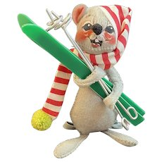 1971 Annalee Christmas Skier Mouse with Skis and Poles Mobilitee Doll Meredith, New Hampshire Candy Can Stripe Cap