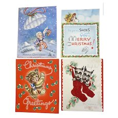 4 Vintage Christmas Cards Kitty Cat Scottie Dogs in Flocked Stockings Patriotic and Horse Pop Up